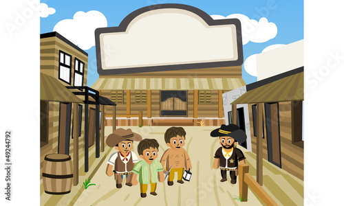 Foto op Canvas Wild West western city, street caroon vector
