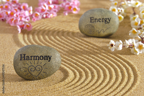 Foto op Plexiglas Stenen in het Zand zen garden with harmony and energy