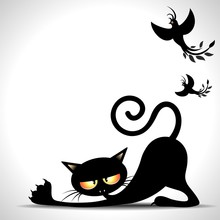 Gatto Nero Cartoon Si Stira-Black Cat Stretching And Birds