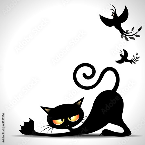 Door stickers Draw Gatto Nero Cartoon si Stira-Black Cat Stretching and Birds