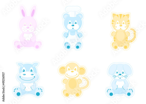 Six cute animals for decoration