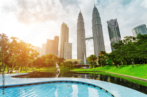 Downtown of Kuala Lumpur in KLCC district Wallpaper Mural