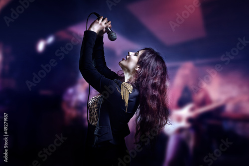 Photo  girl with microphone
