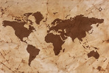Old World map on creased and stained parchment paper