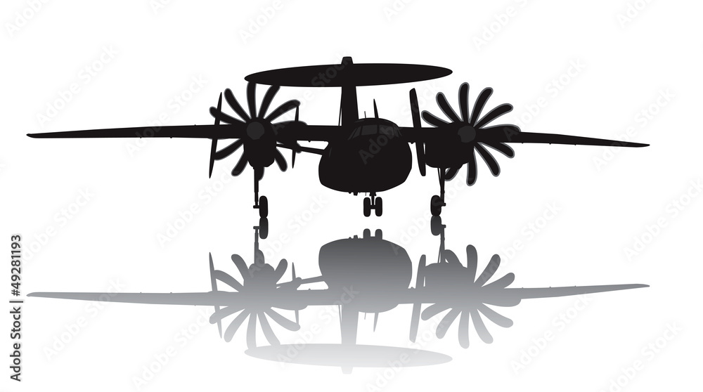 Fotografia, Obraz  Awacs aircraft take off. Vector silhouette with reflection
