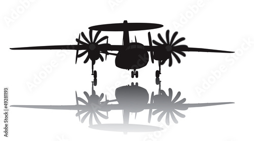 Photo Awacs aircraft take off. Vector silhouette with reflection