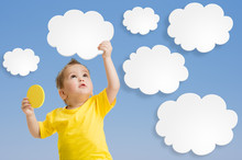 Kid Or Child Keep Cloud And Sun In His Hands