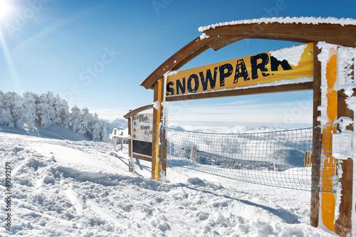 Fotografie, Obraz  Panneau d'information Snowpark