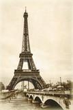 Fototapeta Fototapety z wieżą Eiffla - La tour eiffel sépia effet ancienne photo carte postale