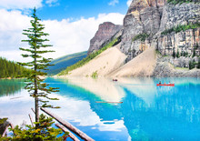 Beautiful Mountain Lake And Rocky Mountains, Canada