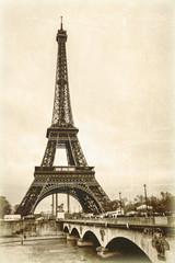 Panel Szklany Czarno-Biały La tour eiffel sépia effet ancienne photo carte postale