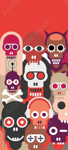 Poster Art abstrait Skulls vector illustration