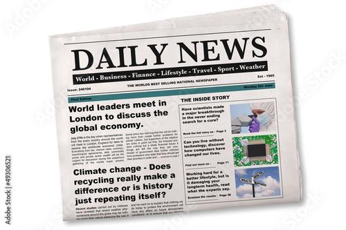 Fototapeta Daily Newspaper Mock up with fake articles obraz