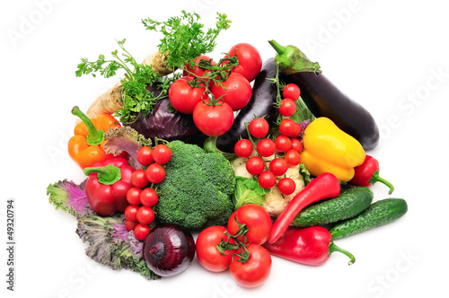 Staande foto Vruchten collection vegetables isolated on white background