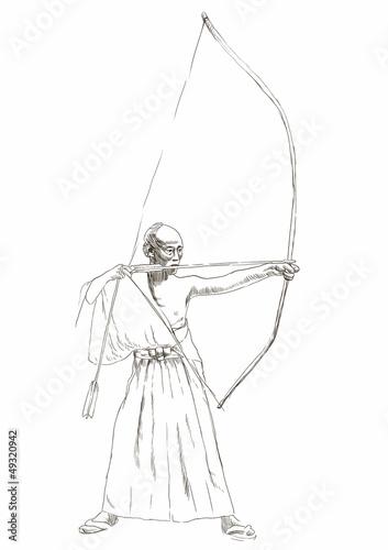 Tuinposter Art Studio Kyudo - modern Japanese martial art. / Hand drawn illustration.