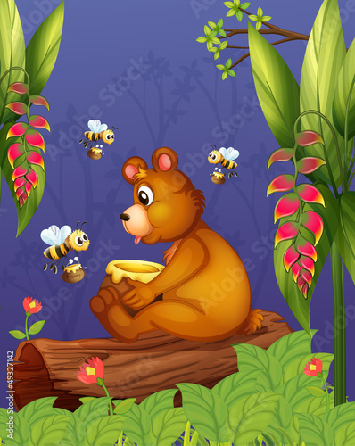 La pose en embrasure Forets enfants A bear with three bees in the forest