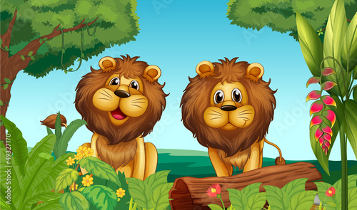 Poster de jardin Zoo Two lions in the forest