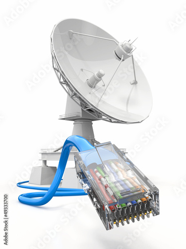Fotografía  Communiation. Satellite dish with cable.