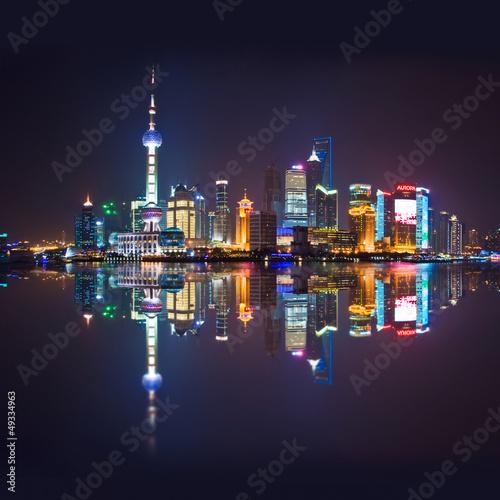 Deurstickers Shanghai Shanghai skyline, carré