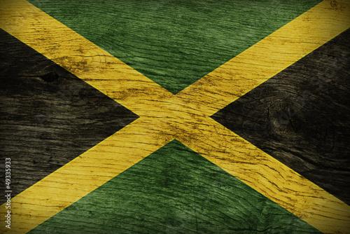 JAMAICAN FLAG ON WOOD Wallpaper Mural