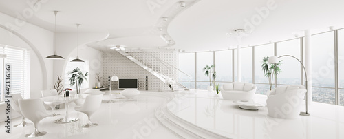 Fotografie, Obraz  Modern weiss apartment interior panorama