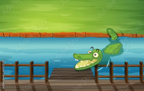 Poster de jardin Zoo A crocodile and a bench