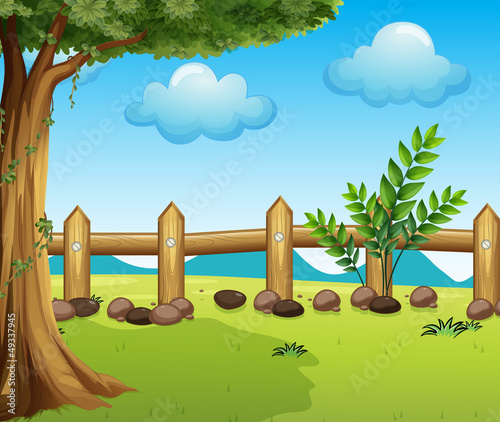 In de dag Boerderij A big tree inside a fence