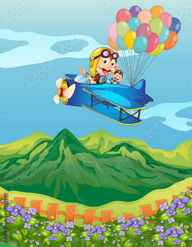 Tuinposter Vliegtuigen, ballon Monkeys on a plane with balloons
