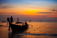 Thai Boat Silhouette At Sunset, Thailand