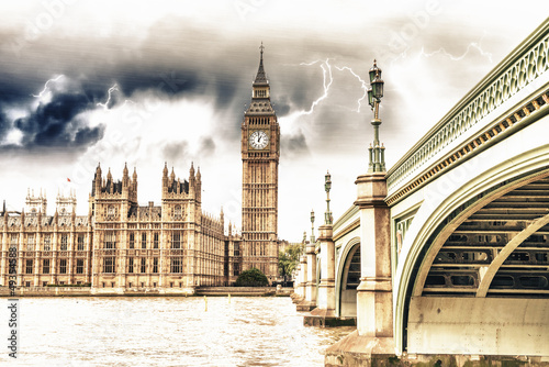 Fototapety, obrazy: Landscape of Big Ben and Palace of Westminster with Bridge and T