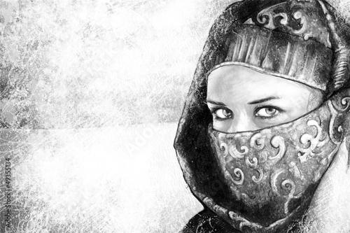 sztuka-ilustracyjna-kobieta-ubrana-w-stroj-arabski-pustynia-wb