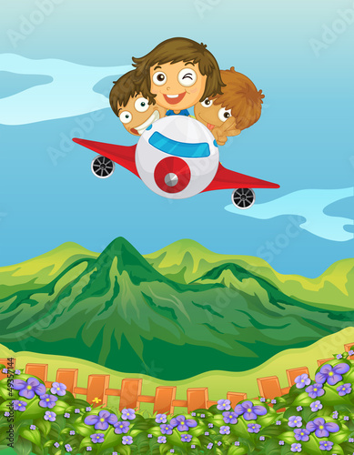Spoed Foto op Canvas Vliegtuigen, ballon Kids and an airplane