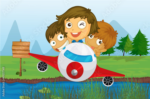 Deurstickers Vliegtuigen, ballon Happy kids riding on a plane