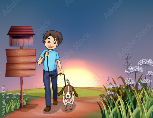 Spoed Foto op Canvas Honden A man walking with his dog