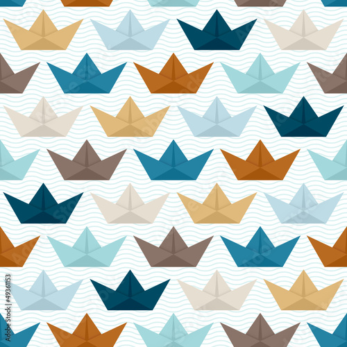 Seamless Pattern Paperboats Waves Retro - 49361153