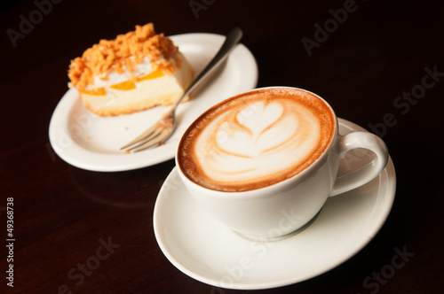 cappuccino cup with cake Poster