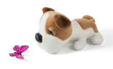 Plush Dog Pointing A Purple Silk Butterfly