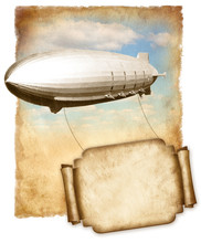 Airship Flying Banner For Text...