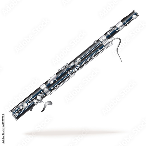 Classical bassoon, isolated on white background Canvas Print