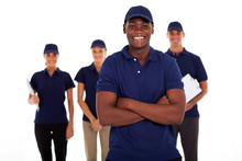 African American Technical Service Worker And Team