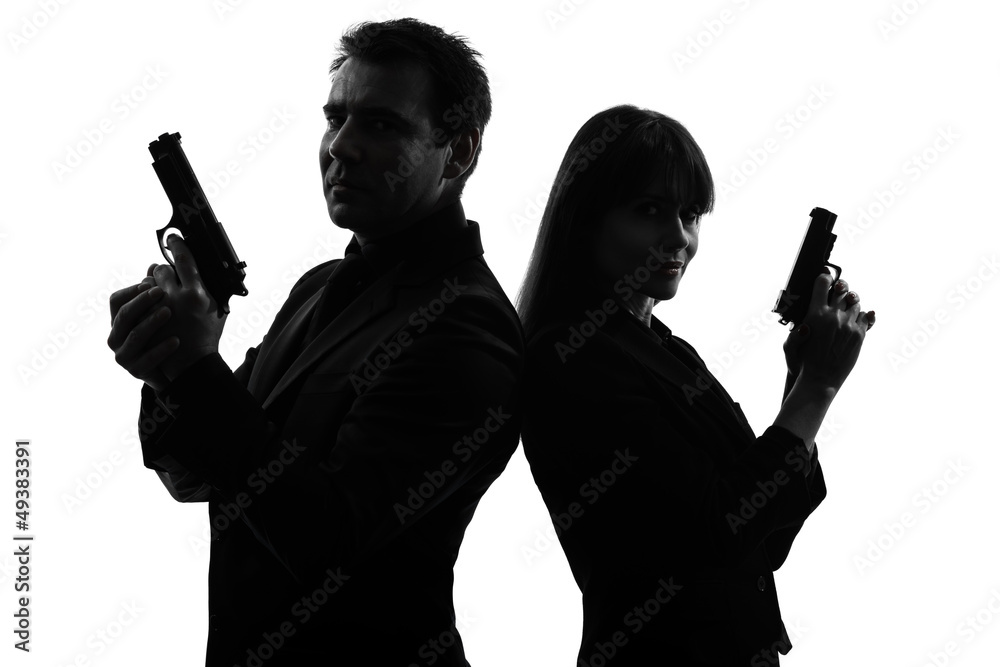 Fototapeta couple woman man detective secret agent criminal  silhouette