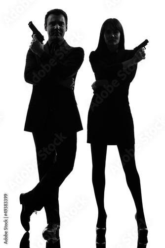 фотография  couple woman man detective secret agent criminal  silhouette