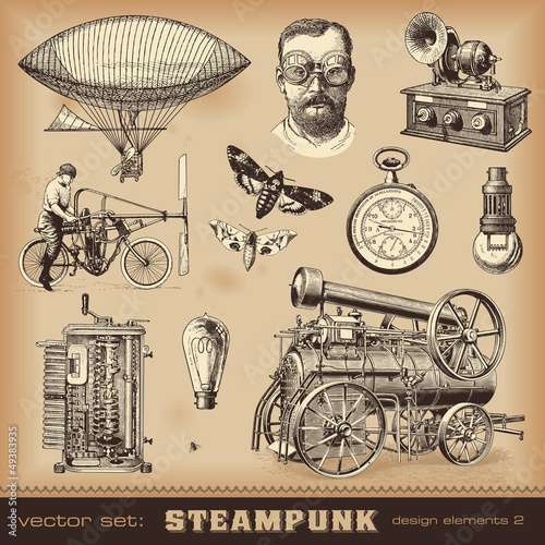 Photo  Steampunk design elements