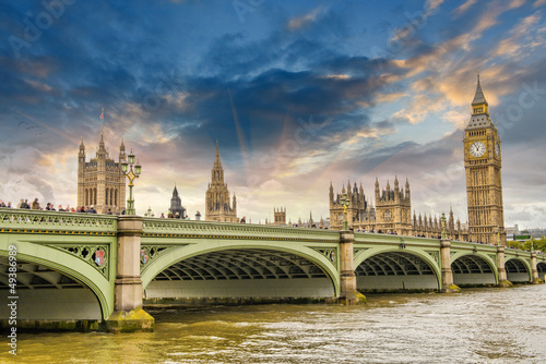Poster London Beautiful London architecture. Houses of Parliament and Westmins