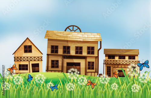 Aluminium Prints Wild West Wooden houses