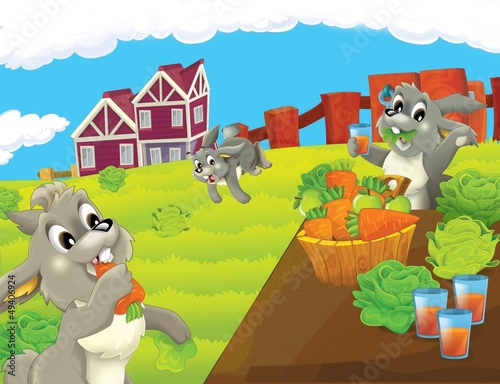 Photo sur Toile Ferme The life on the farm - illustration for the children
