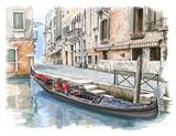 Wenecja. Zabytkowy budynek i gondola - 49407130
