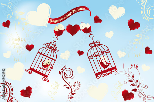 In de dag Vogels in kooien Valentine's Day card in French