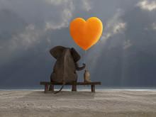 Elephant And Dog Holding A Hea...