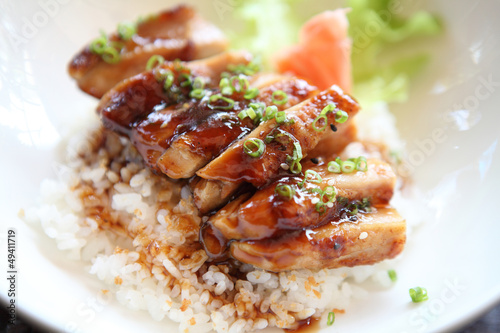 Grilled Chicken teriyaki rice on wood background Wallpaper Mural
